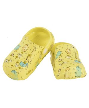 Yellow Bee Animal Print Clogs - Yellow