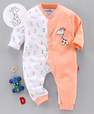 Child World Full Sleeves Romper Giraffe Patch - White Peach