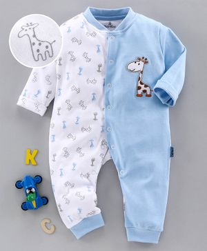 Child World Full Sleeves Romper Giraffe Patch - White Blue