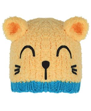Tiekart Warm Baby Animal Face Design Cap - Circumference  40cm - Yellow & Blue