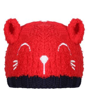 Tiekart Warm Baby Animal Face Design Cap - Circumference  40cm - Red & Blue