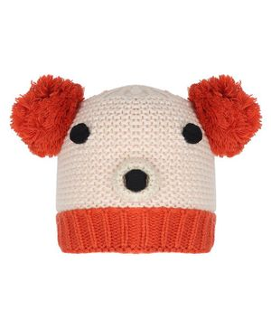 Tiekart Warm Animal Face Design Cap - Circumference 38cm - Cream & Orange