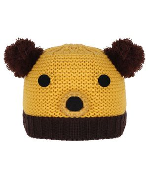 Tiekart Warm Animal Face Design Cap - Circumference 38cm - Yellow & Brown