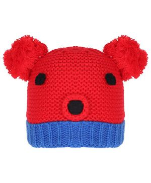 Tiekart Warm Animal Face Design Cap - Circumference 38cm - Red & Blue