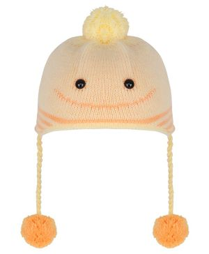 Tiekart Pom Pom & Smile Design Warm Baby Cap - Yellow