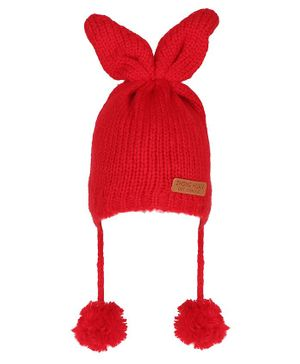 Tiekart Bunny Ear Applique Pom Pom Detailing Cap - Red