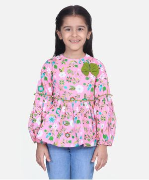 Cutiekins Full Sleeves Floral Print Peplum Top  - Pink & Green