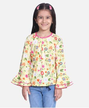 Cutiekins Bell Full Sleeves Floral Print Top - Yellow & Pink