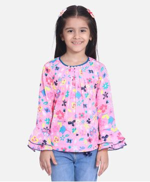Cutiekins Full Sleeves Floral Print Top - Light Pink