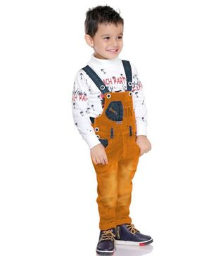 Kooka Kids Full Sleeves Party Print T-Shirt With Denim Dungaree Set  - Mustard