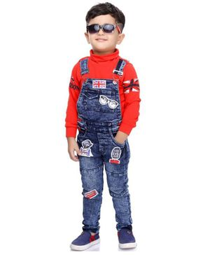 Kooka Kids Full Sleeves T-Shirt With Goggles & Flag Patch Denim Dungaree - Blue