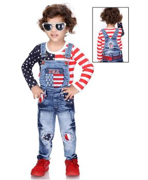 Kooka Kids Full Sleeves Star Print T-Shirt With Denim Dungaree  - Blue