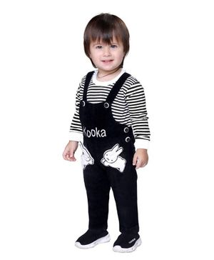 Kooka Kids Full Sleeves Striped Inner T-Shirt With Denim Dungaree  - Black