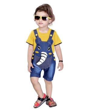 Kooka Kids Half Sleeves Elephant Patch Inner T-Shirt With Dungaree - Yellow