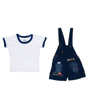 Kooka Kids Half Sleeves Checked Inner T-Shirt With Denim Dungaree  - White