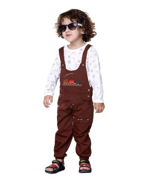 Kooka Kids Full Sleeves Beep Print Inner T-Shirt With Dungaree  - Brown