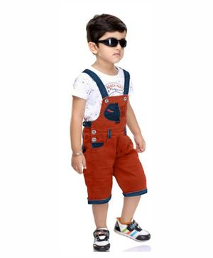 Kooka Kids Half Sleeves Print Inner T-Shirt With Denim Dungaree  - Rust