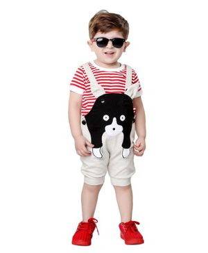 Kooka Kids Half Sleeves Inner T-Shirt With Animal Patch Denim Dungaree - Red