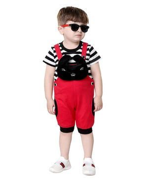 Kooka Kids Half Sleeves Striped Inner T-Shirt With Dungaree - Red