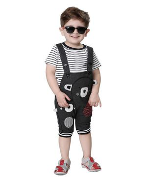 Kooka Kids Half Sleeves Striped Tee With Bear Patch Dungaree - Grey