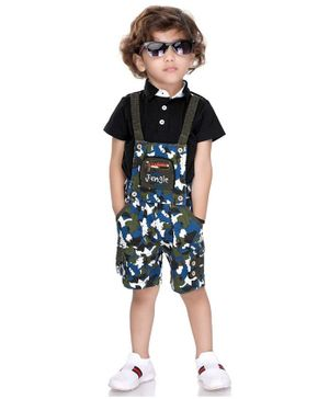 Kooka Kids Half Sleeves Tee With Camouflage Print Dungaree - Blue