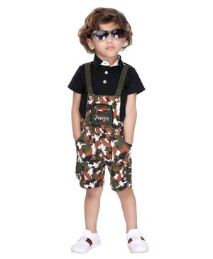 Kooka Kids Half Sleeves Tee With Camouflage Print Dungaree - Green