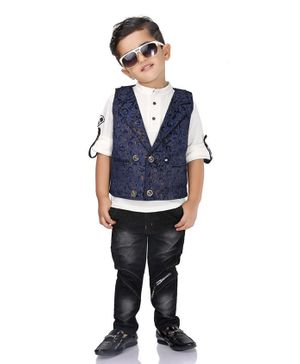 Kooka Kids Full Sleeves Shirt With Alphabets Print Waistcoat & Bottom - Navy Blue
