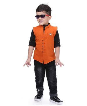 Kooka Kids Full Sleeves Shirt With Badge Design Waistcoat With Bottom - Rust