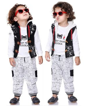 Kooka Kids Full Sleeves Cat Print Tee With Hooded Jacket & Bottom - Black & White