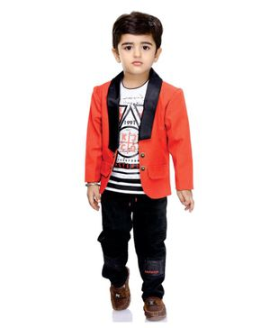 Kooka Kids Full Sleeves Blazer With Printed Tee & Bottom - Dark Peach