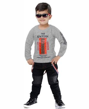 Kooka Kids Full Sleeves New York Print Tee With Suspender Pants - Grey