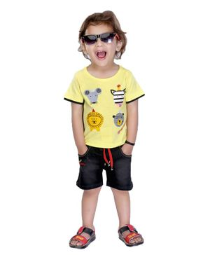 Kooka Kids Half Sleeves Animals Printed Tee & Shorts Set - Yellow