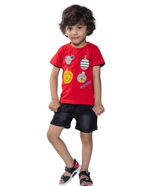 Kooka Kids Half Sleeves Animals Printed Tee & Shorts Set - Red
