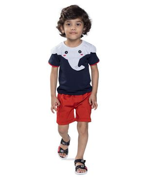 Kooka Kids Half Sleeves Elephant Theme Tee & Shorts Set - Navy Blue