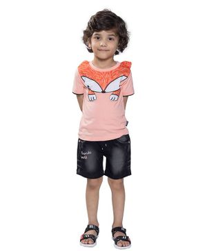 Kooka Kids Half Sleeves Fox Theme Tee With Shorts - Peach
