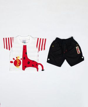 Kooka Kids Half Sleeves Giraffe Printed Tee With Shorts - Red