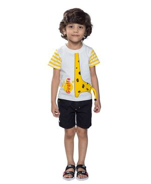 Kooka Kids Half Sleeves Giraffe Printed Tee With Shorts - Yellow
