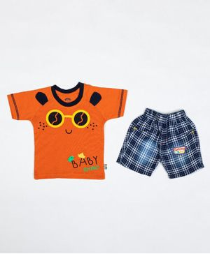 Kooka Kids Half Sleeves Sunglasses Printed Tee With Checkered Shorts - Orange