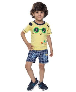 Kooka Kids Half Sleeves Sunglasses Printed Tee With Checkered Shorts - Yellow