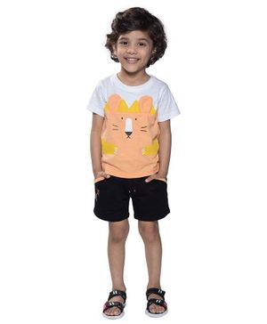 Kooka Kids Half Sleeves Animal Print Detailing Tee & Shorts Set - Peach