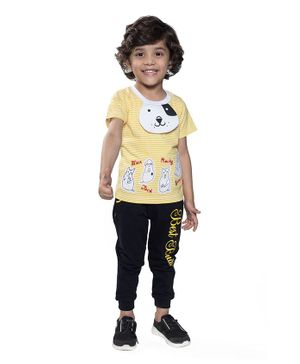 Kooka Kids Half Sleeves Dog Patch Tee With Joggers - Yellow