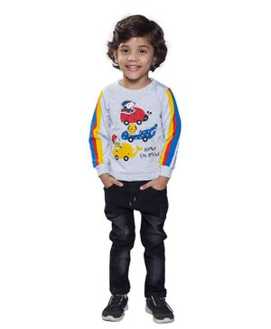 Kooka Kids Full Sleeves Dog Driving Car Patch Detailing Tee With Pants - Multi Colour