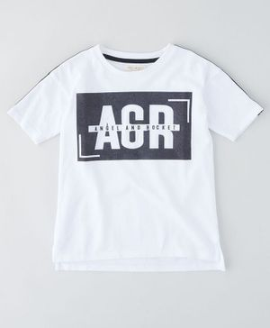 Angel & Rocket Short Sleeves Printed T-Shirt - White
