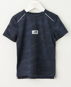 Angel & Rocket Half Sleeves Solid Tee - Navy
