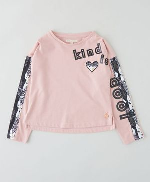 Angel & Rocket Full Sleeves Kind Is Cool Print T-Shirt -  Pink