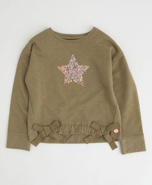 Angel & Rocket Full Sleeves Star Sequins Top  - Khaki