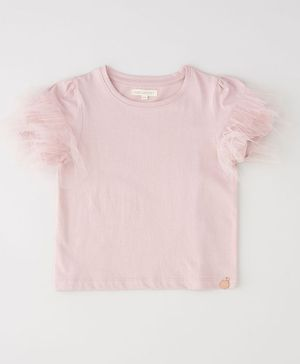 Angel & Rocket Short Sleeves Solid Color Top - Pink