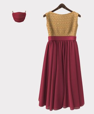 HEYKIDOO Sleeveless Floral Embroidered Gown With Matching Mask - Maroon