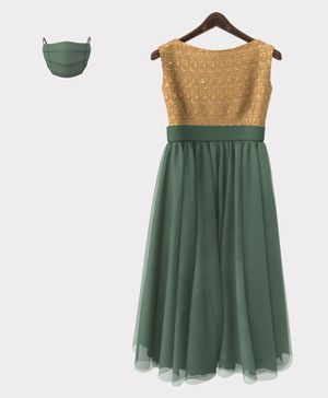 HEYKIDOO Sleeveless Floral Embroidered Gown With Matching Mask - Green