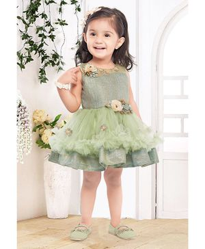 Fiona Party Sleeveless Flower Detailed Fit & Flare Netted Dress - Green